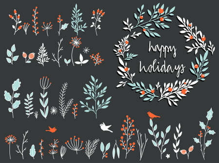 Holiday set of hand-drawn flowers and herbs in vector. Collection of wreath, garland of flowers.