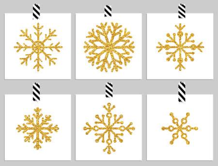copo de nieve: Conjunto de 6 de oro copos de nieve de textura en las tarjetas. Felices fiestas y tarjetas Felices cristmas. Ilustraci�n vectorial