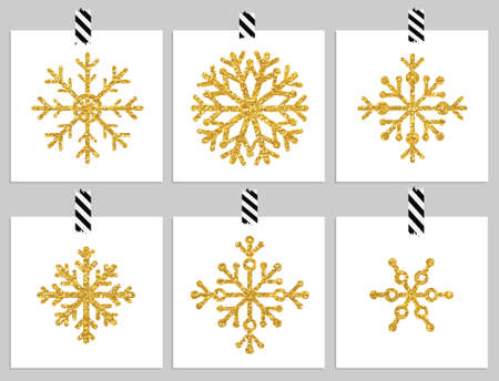 snowflakes: Set of 6 gold textured snowflakes on cards. Happy holiday and merry cristmas cards. Vector illustration