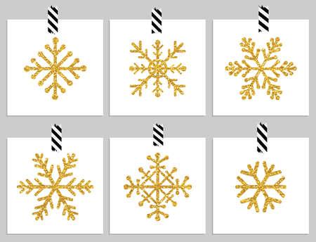 flocon de neige: D�finir des flocons de neige textur�s 6 d'or sur les cartes. Bonnes vacances et les cartes de cristmas joyeux. Vector illustration