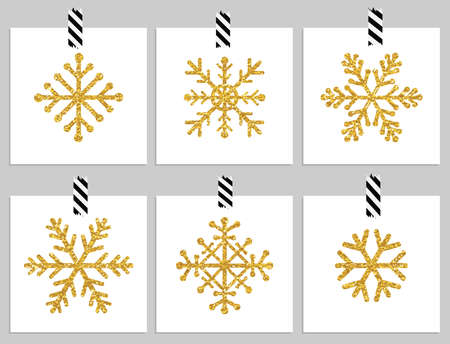 holiday celebrations: Set of 6 gold textured snowflakes on cards. Happy holiday and merry cristmas cards. Vector illustration