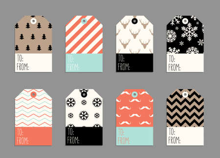Collection of Christmas and New Year cute ready-to-use gift tags