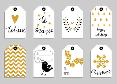 Collection of gold texture Christmas and New Year cute ready-to-use gift tags Stock Illustratie