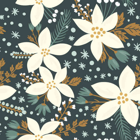 Hand drawn floral seamless vector pattern. Winter and fall themed background. Seamless texture with white flowers of poinsettia Imagens - 47783351