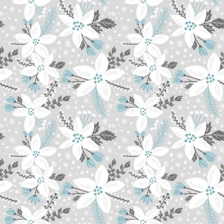 invierno: Dibujado a mano vector patrón floral sin fisuras. Invierno y otoño fondo temático. Textura inconsútil con las flores blancas de flor de pascua Vectores