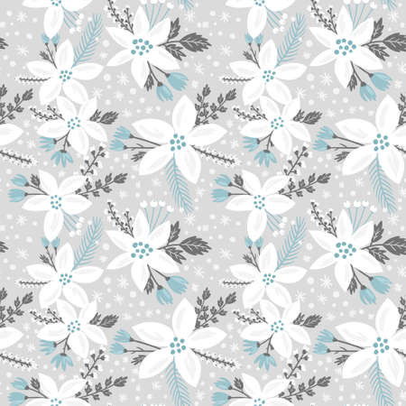 winter day: Hand drawn floral seamless vector pattern. Winter and fall themed background. Seamless texture with white flowers of poinsettia