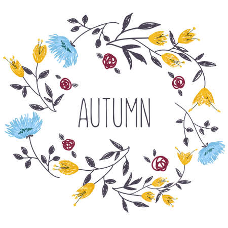 circle flower: Autumnal round frame. Wreath of flowers. Background with hand drawn flowers.