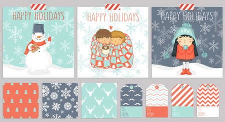 Big set of three christmas cards, seamless patterns for warping presents and gift tags in one color style.
