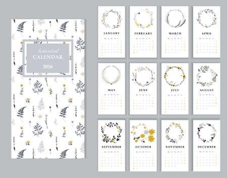 Calendar 2016 with hand drawn romantic seasonal wreaths. Stock Vector - 47790310