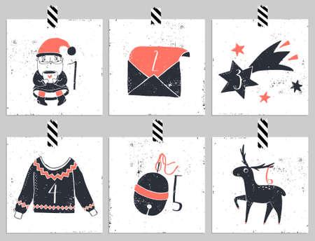 Adviento calendar.Six día de Navidad. Una de las cuatro partes del calendario. Mire en mi cartera. Foto de archivo - 47790339