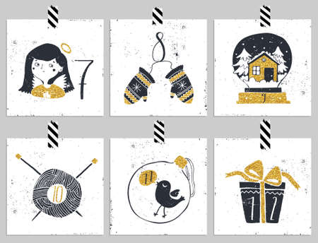 adviento: Adviento calendar.Six d�a de Navidad. Una de las cuatro partes del calendario. Mire en mi cartera.