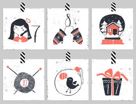 dia: Adviento calendar.Six día de Navidad. Una de las cuatro partes del calendario. Mire en mi cartera.