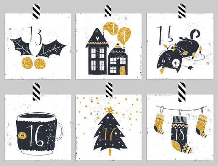 アドベント カレンダー。クリスマスの 6 日間。カレンダーの 4 つの部分の 1 つ。私のポートフォリオで見てください。