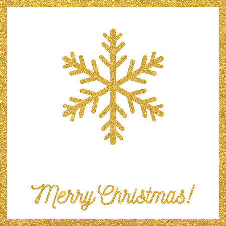 xmas background: Christmas gold card with snowflakes Illustration