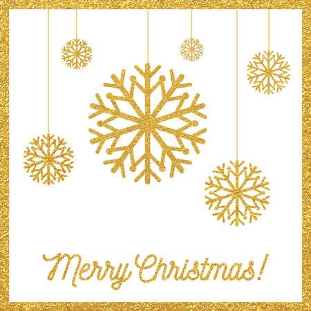 christmas snowflakes: Christmas gold card with snowflakes Illustration
