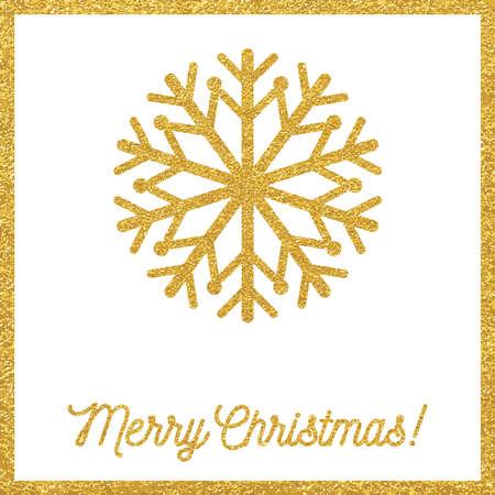 copo de nieve: Tarjeta de oro de Navidad con copos de nieve