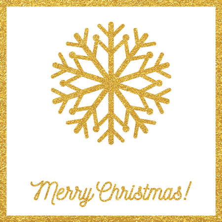 Christmas gold card with snowflakes Illustration