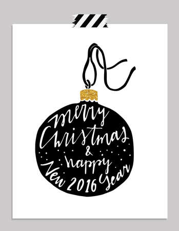 merry mood: Hand drawn typography card. Merry christmas and happy new year greetings hand-lettering isolated on black background.