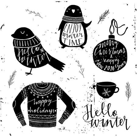 moody: Vector set of winter themed retro design elements. Winter vintage elements. Hand drawn typography elements. Hello winter. Moody sky abstract background.