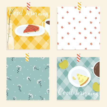 tasty: Cute and tasty bright good morning card.  Illustration
