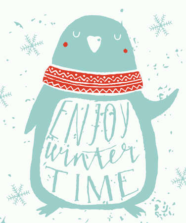 pinguin: Christmas Greeting Card with pinguin. Enjoy winter time. Template for Greeting Scrapbooking, Congratulations, Invitations.