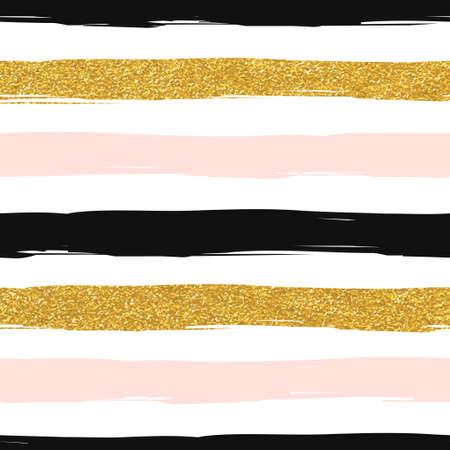 schwarz: Nahtlose gestreiften Gold stieg weiß und schwarz modernen Vektor-Muster