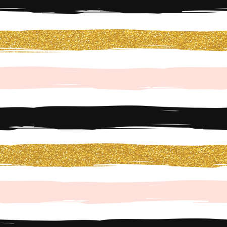 Seamless striped gold rose white and black modern vector pattern Vectores