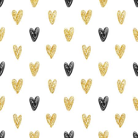 Seamless polka dot gold hearts pattern Stock Illustratie