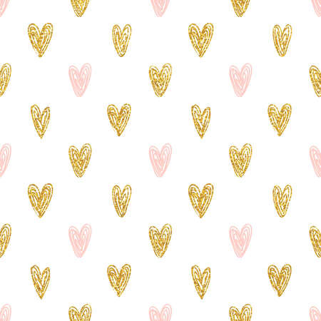 Seamless polka dot gold hearts pattern Çizim