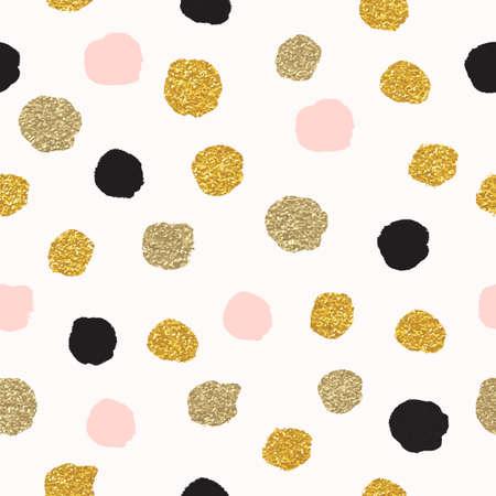 ローズゴールドと黒の水玉模様のシームレスなパターンをベクトルします。ゴールドのドット、ドットを輝いている輝き。