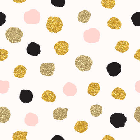 Vector seamless pattern with polka dots of rose gold and black. Gold dots, sparkles, shining dots.