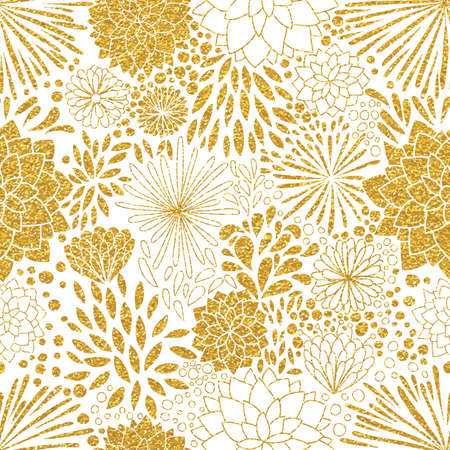 Floral gold ornament. Vector gold seamless patterns. Modern stylish texture. Trendy gold glitter texture