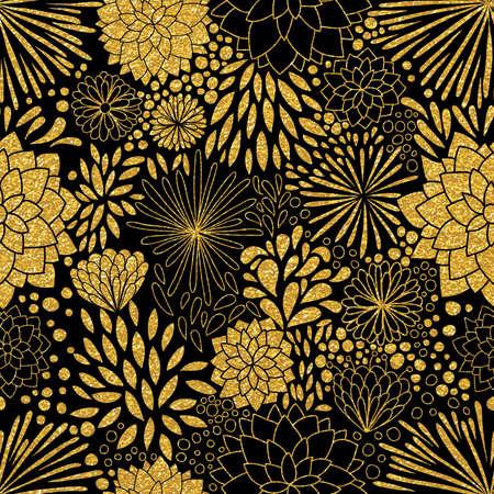 ornement d'or floral. Vector or seamless patterns. texture moderne et élégant. or Trendy glitter texture Vecteurs