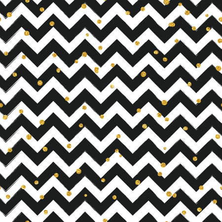 chevron background: Gold glittering confetti seamless pattern on stripe chevron background