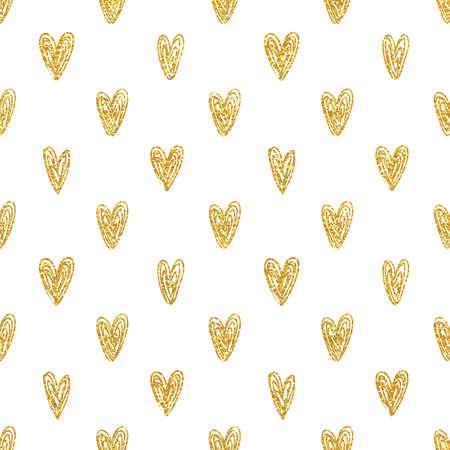 Seamless polka dot gold hearts pattern Ilustração