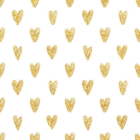 Seamless polka dot gold hearts pattern Illustration