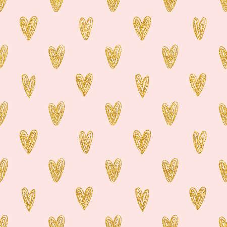 Seamless polka dot gold hearts pattern 일러스트