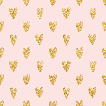 tissu or: polka dot Seamless hearts pattern or