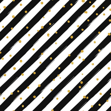 Gold glittering confetti seamless pattern on diagonal striped background