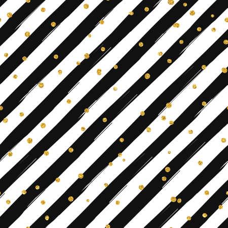 Gold glittering confetti seamless pattern on diagonal striped background