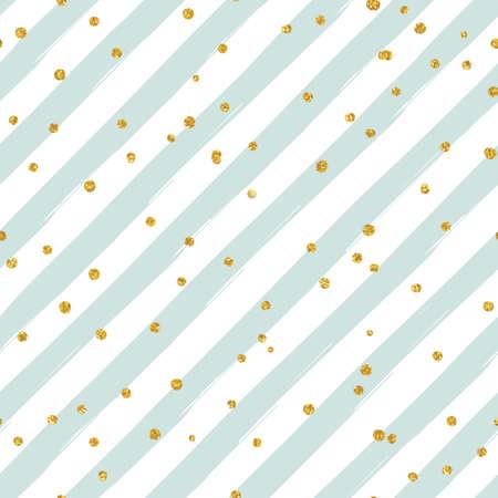Gold glittering confetti seamless pattern on diagonal striped background Reklamní fotografie - 51837359