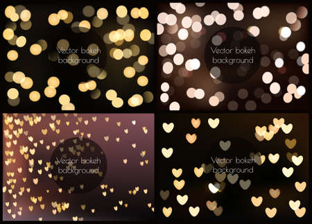 heart background: Set of four photo realistic bokeh lights - vector illustration collection.