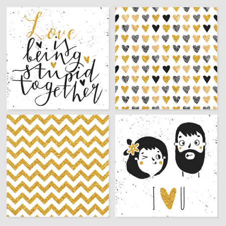 Cute glitter cards and seamless pattern, love collection. Perfect for valentines day, birthday, save the date invitation.