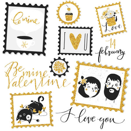 diary: Valentines Day Stamps. Template for gift box, scrapbook, design, invitation, greetings, diary, sticker.