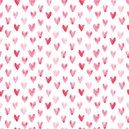 Vector aquarel harten naadloos patroon (tegel). Retro handgetekende hart ornament. Vormen patroon. Geschilderde ornament. Grunge kleurrijke liefde vormen