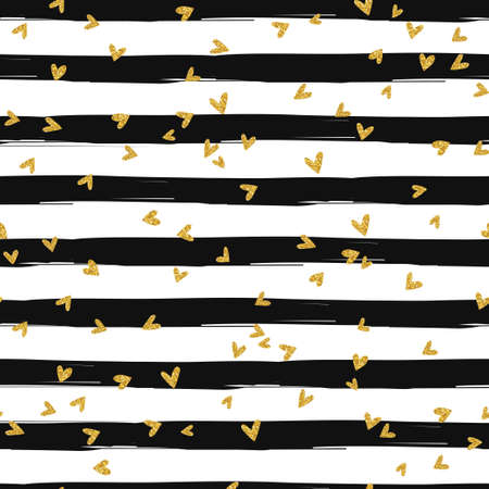 縞模様の背景の金のきらびやかな心紙吹雪シームレス パターン  イラスト・ベクター素材