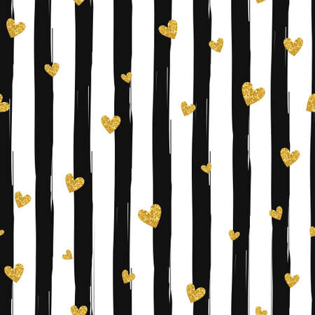 black: Gold glittering heart confetti seamless pattern on striped background