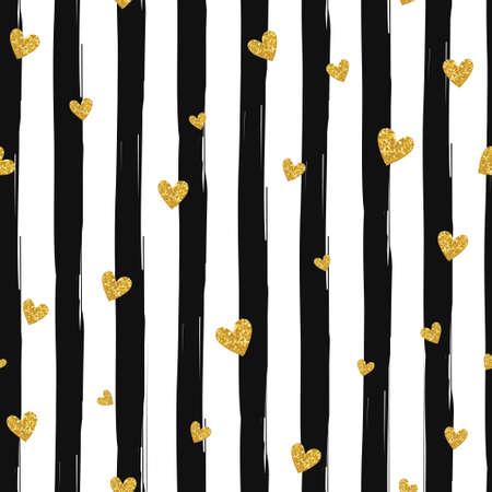 preto: Ouro reluzente coração confetti padrão sem emenda em fundo listrado