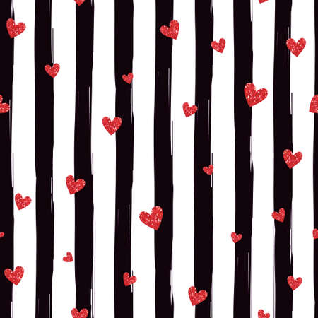 stripes: Red hearts on a striped seamless pattern