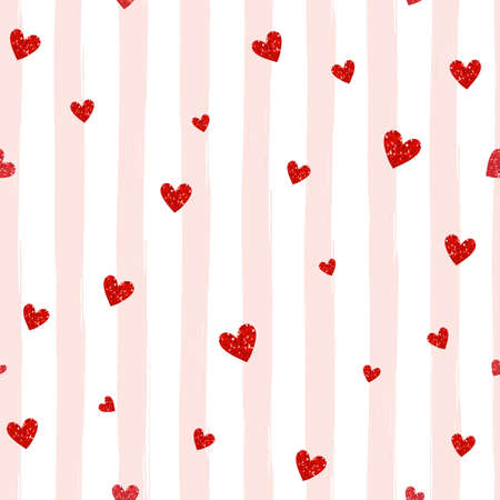Red hearts on a striped seamless pattern